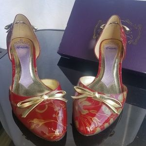 Vintage Red Patent Leather with Gold Accents